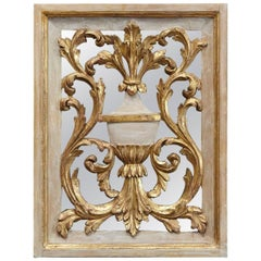 19th Century Venetian Style Painted and Gilded Carved Wood Mirror Back Panel