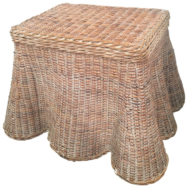 Draped Wicker Coffee, Cocktail or End Table Vintage
