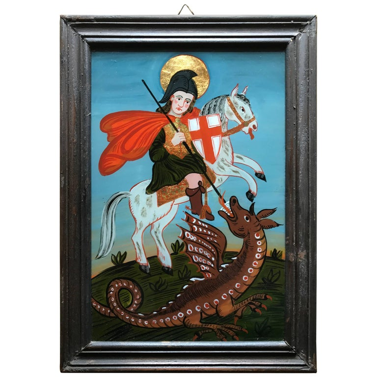 Reverse Glass Painting Of Saint George And The Dragon For Sale At