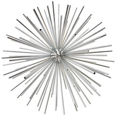 Contemporary Curtis Jere Large Chrome Sputnik Sculpture-Signed
