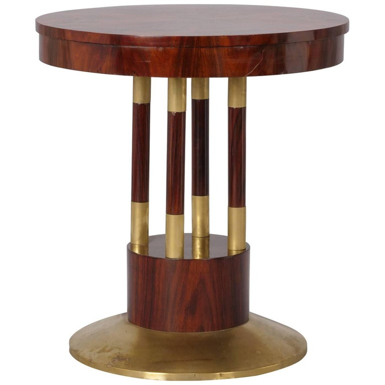 Round Jugendstil Rosewood and Brass Pedestal Table