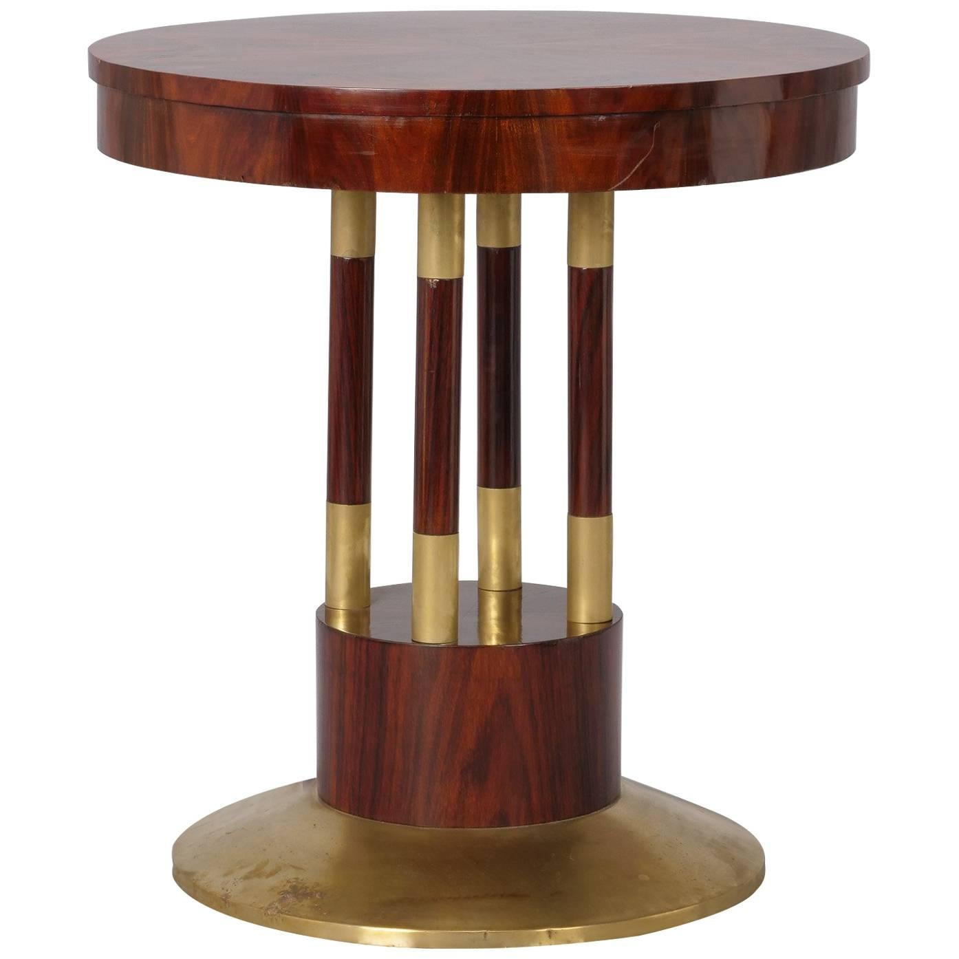 Attractive Round Jugendstil Rosewood And Brass Pedestal Table 1