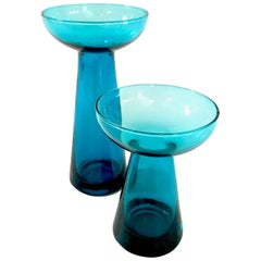 Set of Two Mid-Century Turquoise Glass Candle Vases