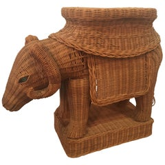 Wicker Ram Garden Stool Plant Stand Vintage Glass Marble Eye