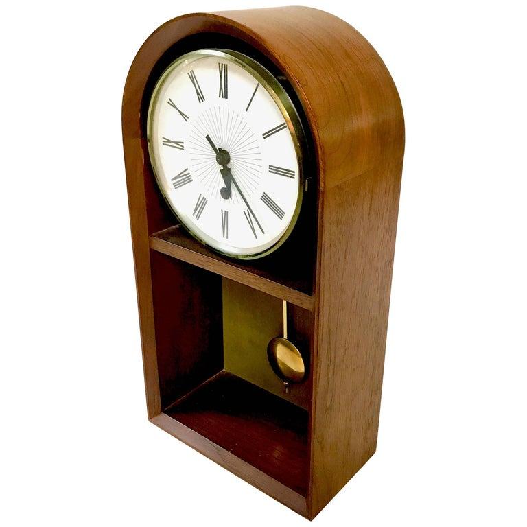 Mid Century Walnut Howard Miller Meridian Pendulum Clock
