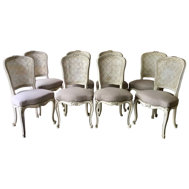 Set of Eight French LXV Style Chairs with Cane Back 1