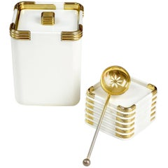 Vintage Lancel Ice Bucket with Coaster and Spoon