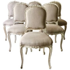 Set of Six Painted French Louis XV Style Dining Chairs