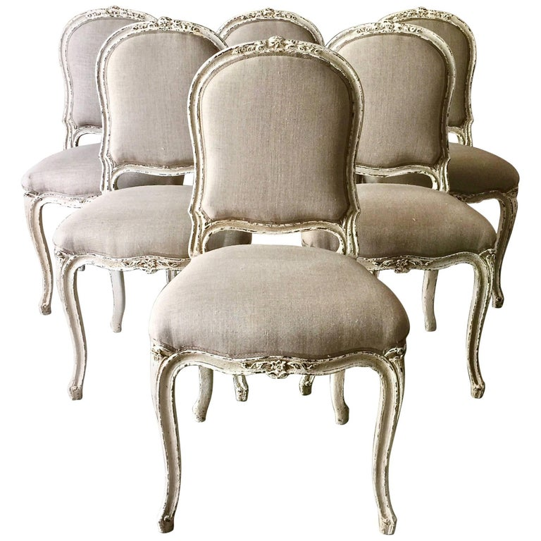 Set of Six Painted French Louis XV Style Dining Chairs For Sale