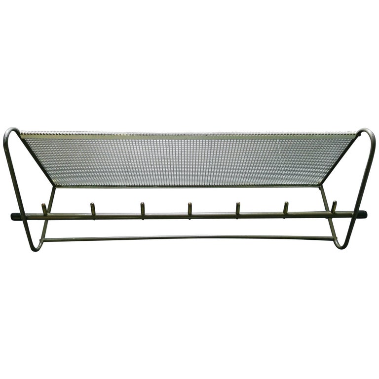 Perforated Metal Coat Rack Mid-Century For Sale