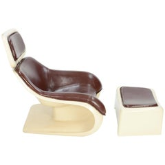 Beautiful and Sensual Klaus Uredat Targa Lounge Chair and Ottoman for Horn
