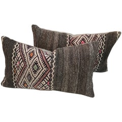 Pair of Moroccan Hand-Loomed Wool Pillows