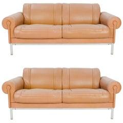 Pair of Maison Jansen Loveseats in Distressed Buffalo Leather