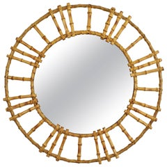 Unusual Spanish 1960s Bamboo Circular Sunburst Mirror with Tiki Accents