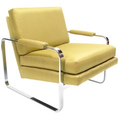 Flat Bar Chromed Steel and Silk Lounge Chair in the manner of Milo Baughman