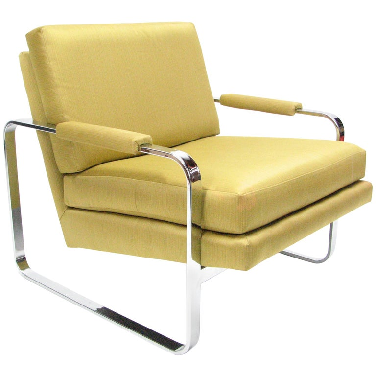 Flat Bar Chromed Steel and Silk Lounge Chair in the manner of Milo Baughman 1