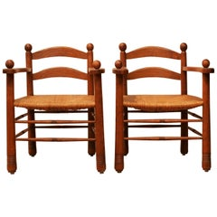 Pair of Oak Chairs Adnet Neo Colonial Style, 1950