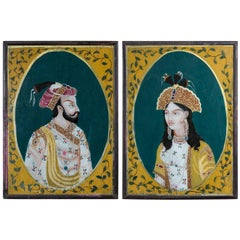 Pair of Indian Reverse Glass Paintings