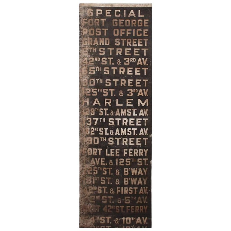 Original 1930s NYC Subway Destination Banner For Sale