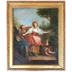 18th Century French School Painting of a Blindfolded Maiden
