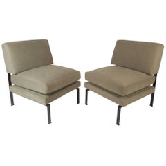 Pair of Mid-Century Modern Italian Trafilisa Lounge Chairs with Adjustable Seats