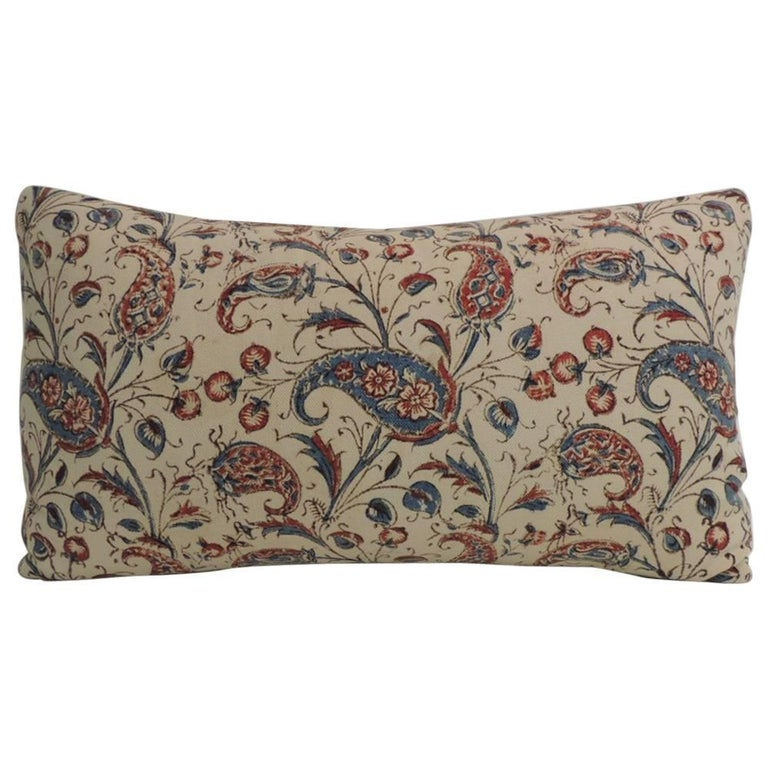 How To Make A Decorative Pillow By Hand : 19th Century Indian Floral Hand-Blocked Bolster Decorative Pillow For Sale at 1stdibs