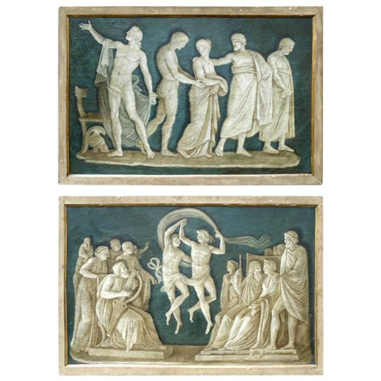 Pair of Large Late 18th Century Italian Neoclassical Grisaille Paintings