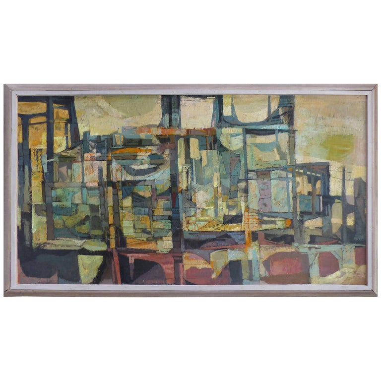 1957 Mid-Century Abstract Oil Painting by Listed New York Artist Gordon Steele