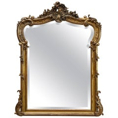 19th Century French Rococo Mirror with Beveled Glass