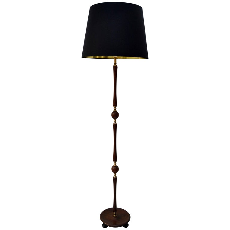 1960's Teak and Brass Floor Lamp with Black Silk Shade