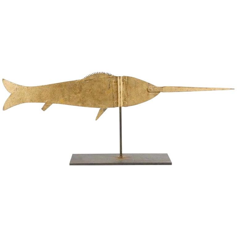 19th Century American Swordfish Weathervane Gilded Sheet Iron