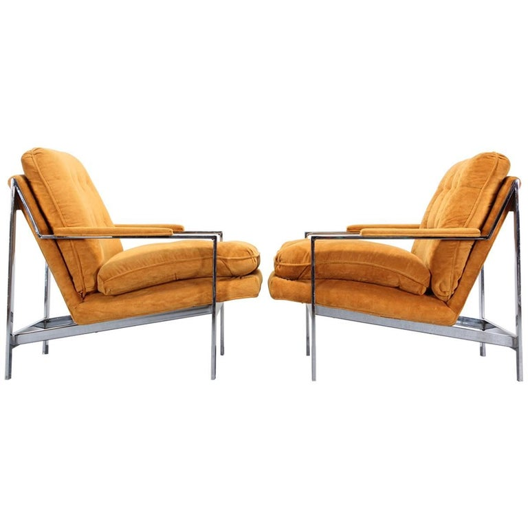 Pair of Chrome Lounge Chairs by Cy Mann, 1970s