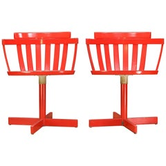 1960s Swedish Mid-Century Modernist Red Desk Swivel Chairs