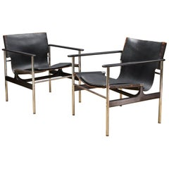 Pair of Black Leather Chrome Sling Chairs by Charles Pollack Knoll Associates