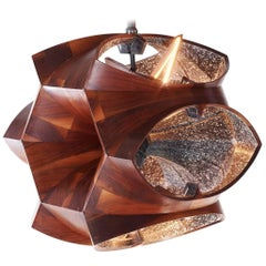 Walnut Geometric Wood Chandelier with Cathedral Arches by Eddy Sykes