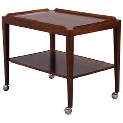 Haslev Møbelfabrik Rosewood Rolling Table from the 1960s