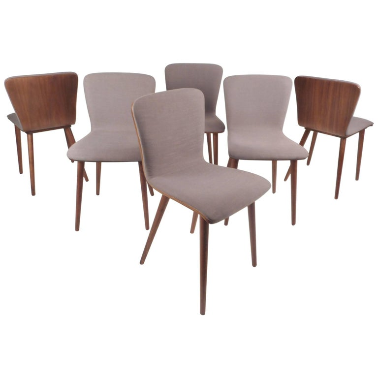 Set Of Six Contemporary Modern Dining Chairs For Sale At