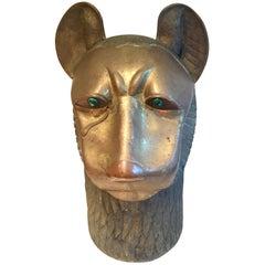 Figural Brass Sculpture of the Egyptian Goddess Sekhmet Having Malachite Eyes