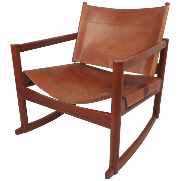 Mid century modern leather rocking chair by michel arnoult for Mid century modern leather chairs