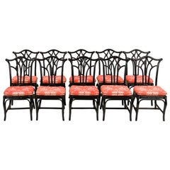 Set of Ten Rattan Black Lacquered Side Chairs