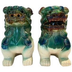 Vintage Pair of Chinese Ceramic Glaze Polychrome Foo Dogs