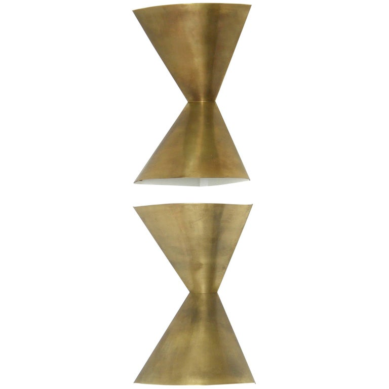 Edward Wormley Brass Corner Lamps for Lightolier 1