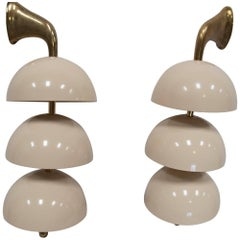 Two Pairs of Three-Light Wall Sconces