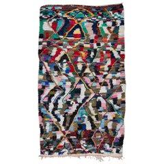 Vintage Moroccan Azilal Boucherouite Rug