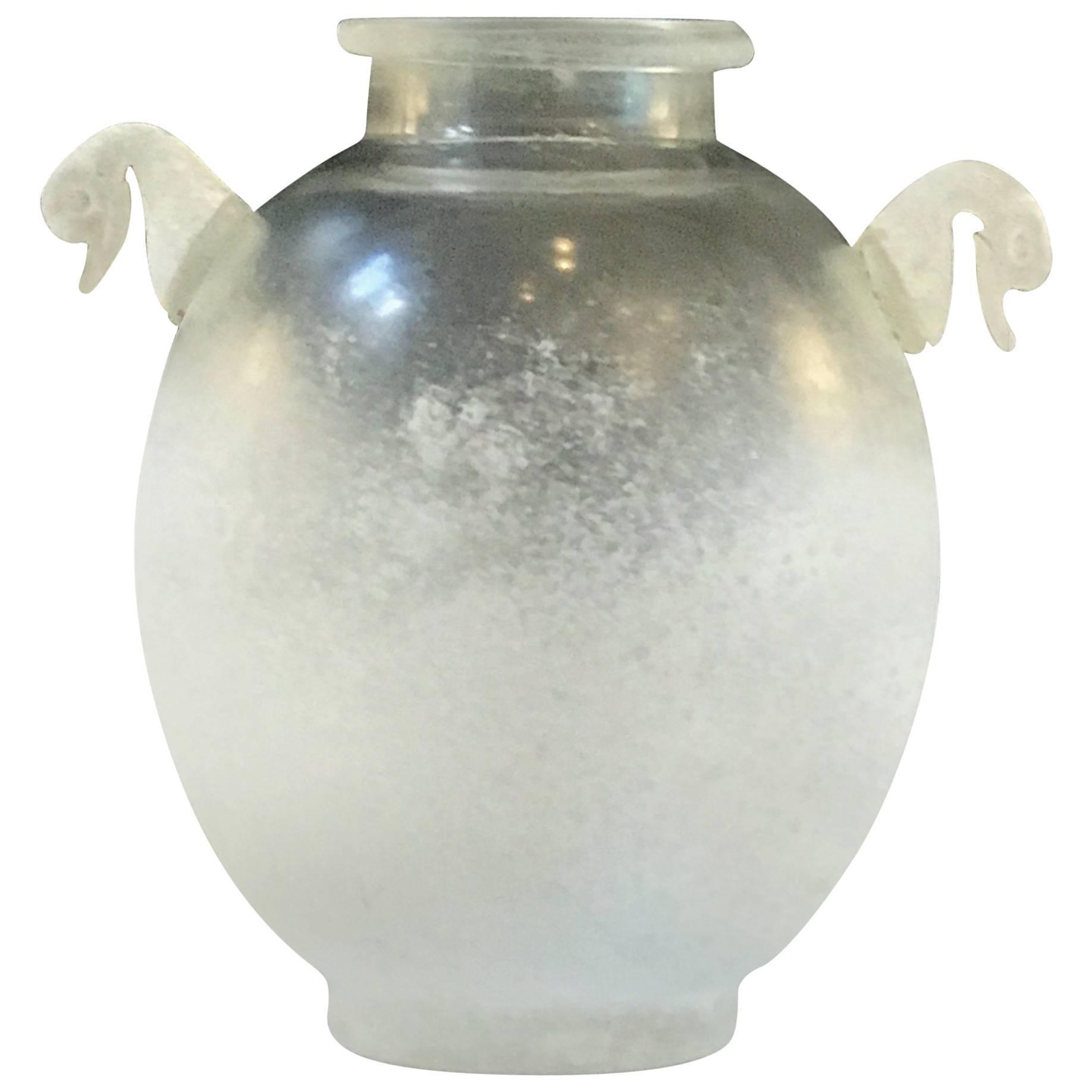 Seguso Vetri d'Arte Scavo Glass Handled Vase, Attributed to Flavio Poli