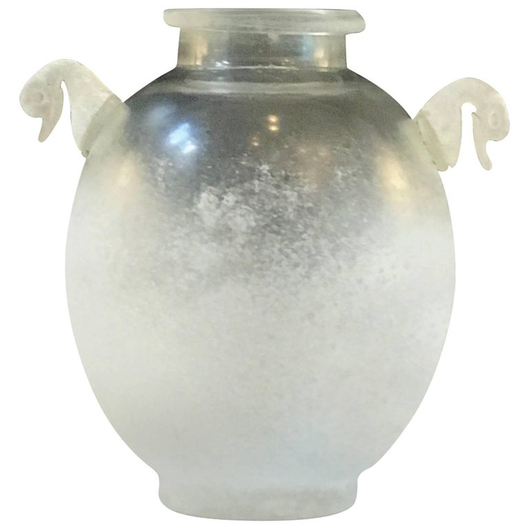 Seguso Vetri d'Arte Scavo Glass Handled Vase, Attributed to Flavio Poli For Sale