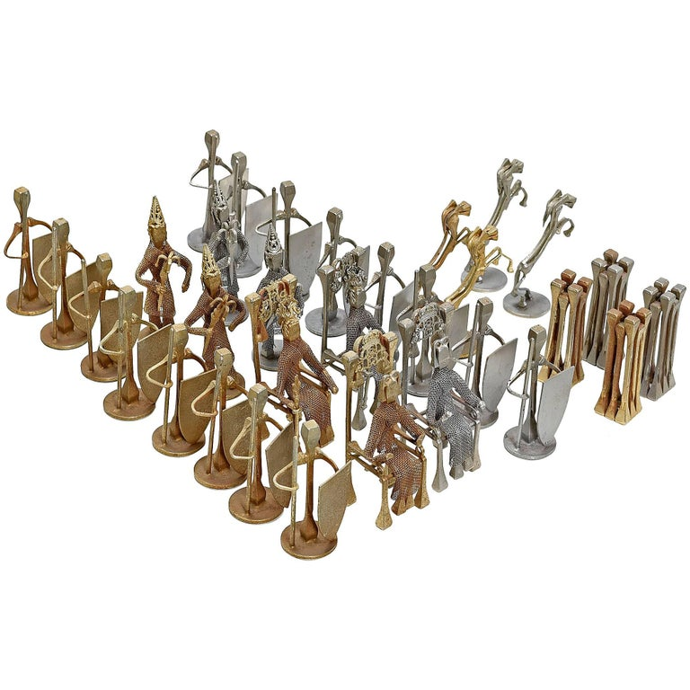 Brutalist Style Handcrafted Steel Nail Silver and Bronze Chess Set
