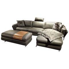 """L-Sofa """"Intermezzo Black Label"""" by Manufacturer W. Schillig in Genuine Leather"""