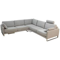"""L-Sofa """"Ego"""" by Manufacturer Rolf Benz in Massive Wood, Metal and Fabric"""