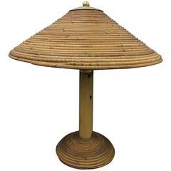 Italian brass and Bamboo Table Lamp, circa 1970